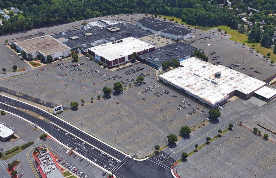 This Google Earth image of the Eastfield Mall shows how, with the closing of its main anchors, its vast parking lots are almost empty.