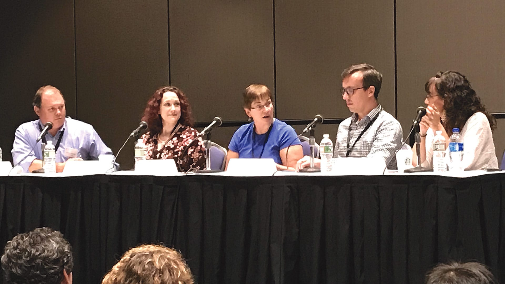 From left, Bulkley Richardson attorneys Scott Foster, Sarah Willey, Mary Jo Kennedy, Ryan Barry, and Kathy Bernardo take part in a recent cannabis panel.