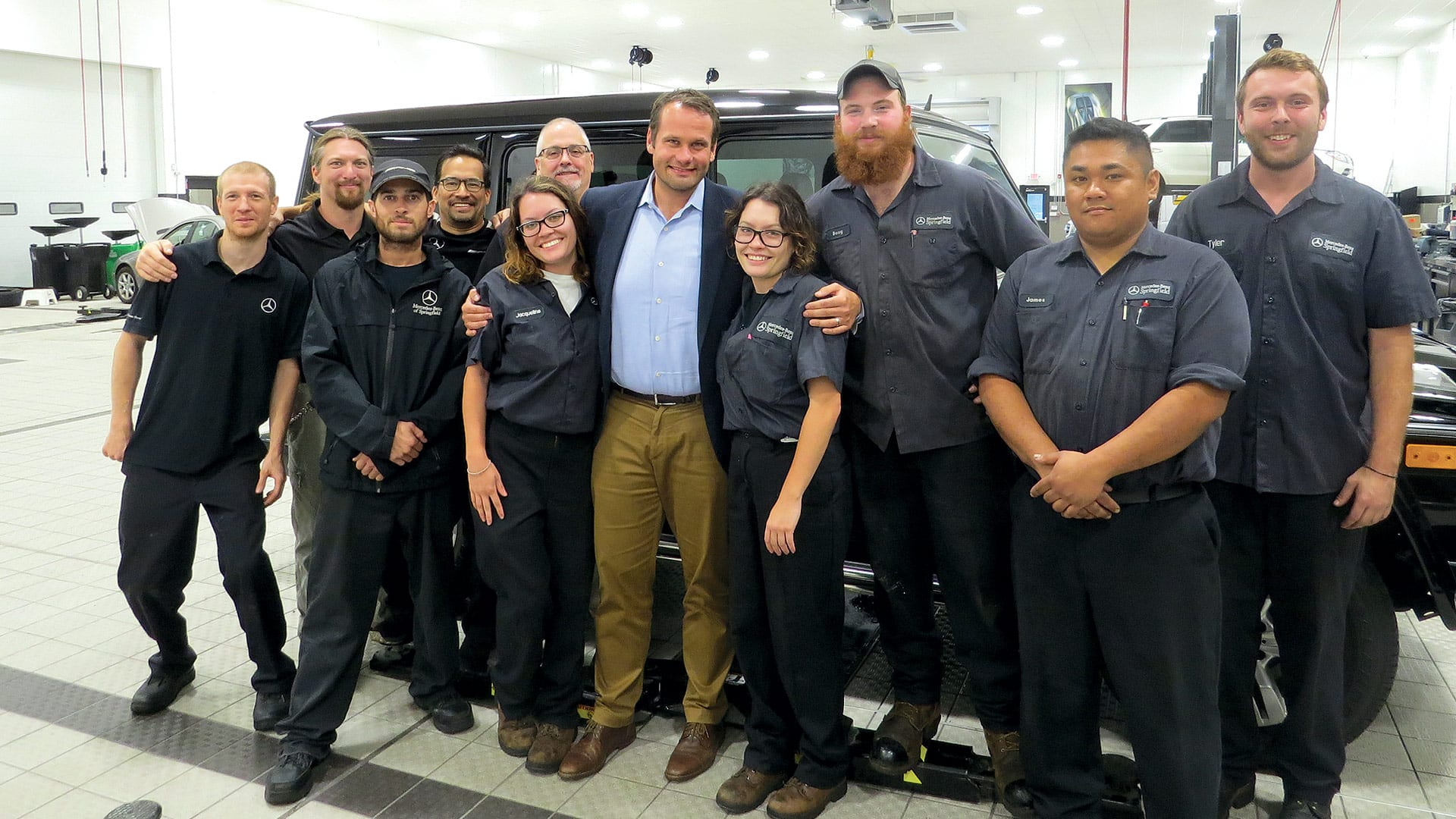 Peter Wirth, seen here with members of the service team at Mercedes-Benz of Springfield