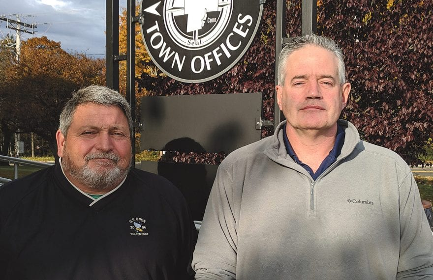 Joseph Deedy (left) and Karl Stinehart say Southwick strikes a healthy balance between economic growth and outdoor attractions.