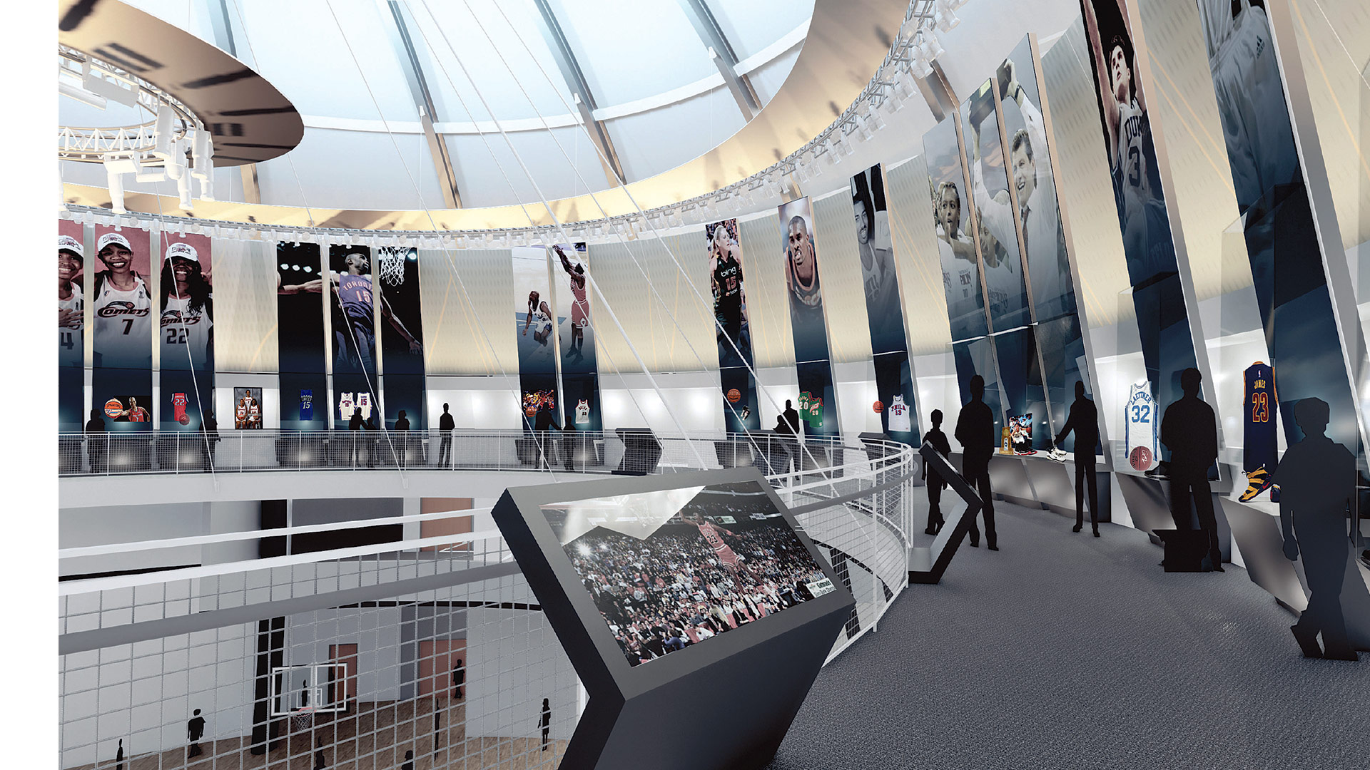 An architect's rendering of the renovated third-floor mezzanine at the Basketball Hall of Fame, which includes the tributes to the inductees.