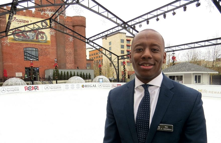 Alex Dixon stands by the ice skating rink opened late last month at MGM Springfield