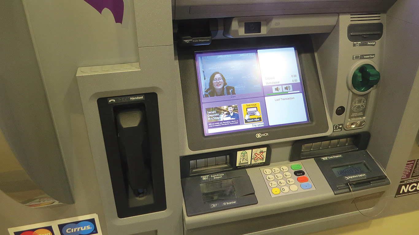 The ITMs installed by UMassFive allow customers to see, and interact with, an employee of the credit union.