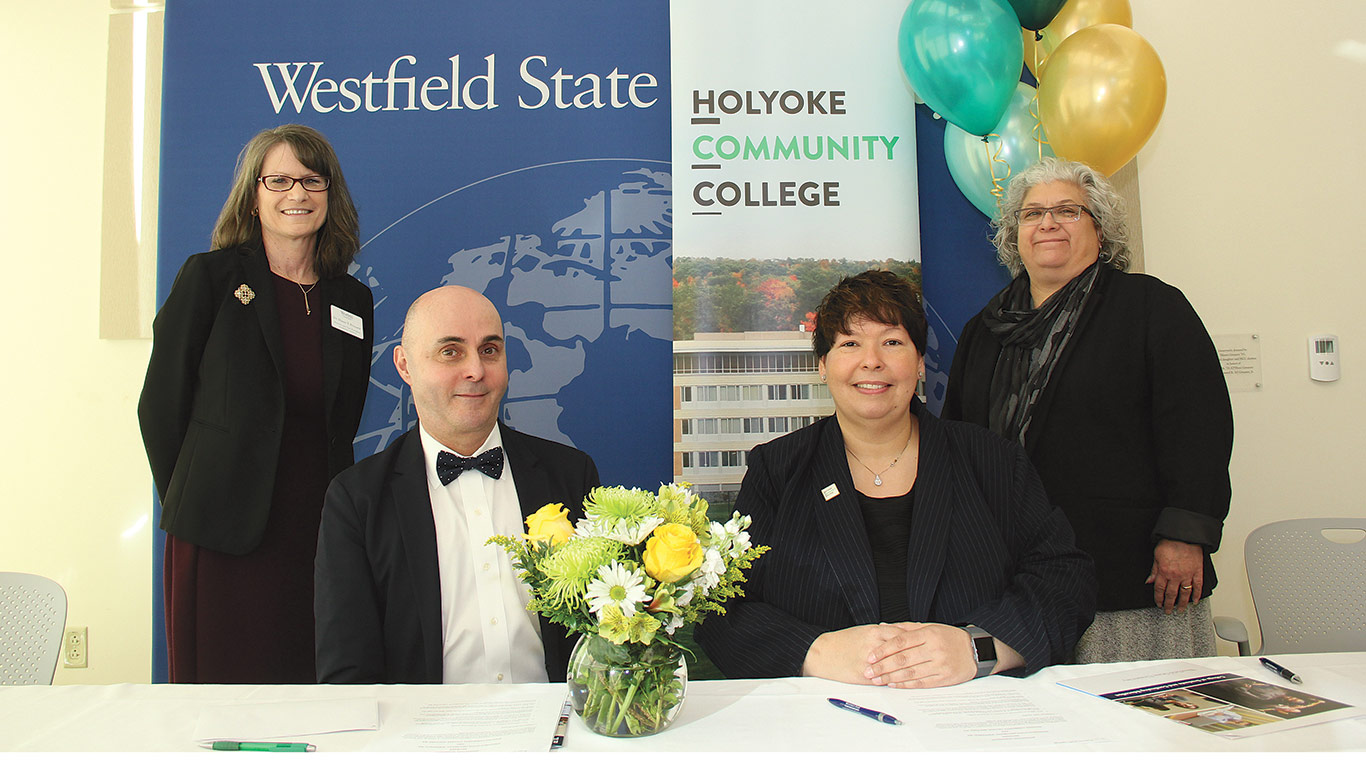 Officials from Holyoke Community College and Westfield State University
