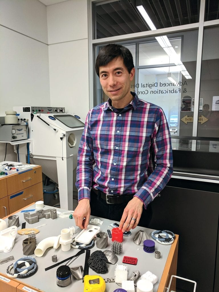 ADDFab Director Dave Follette with samples of 3D-printed objects.