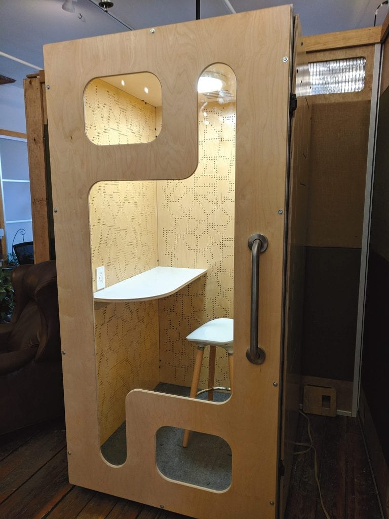 Greenspace CoWork's private, soundproof phone booths