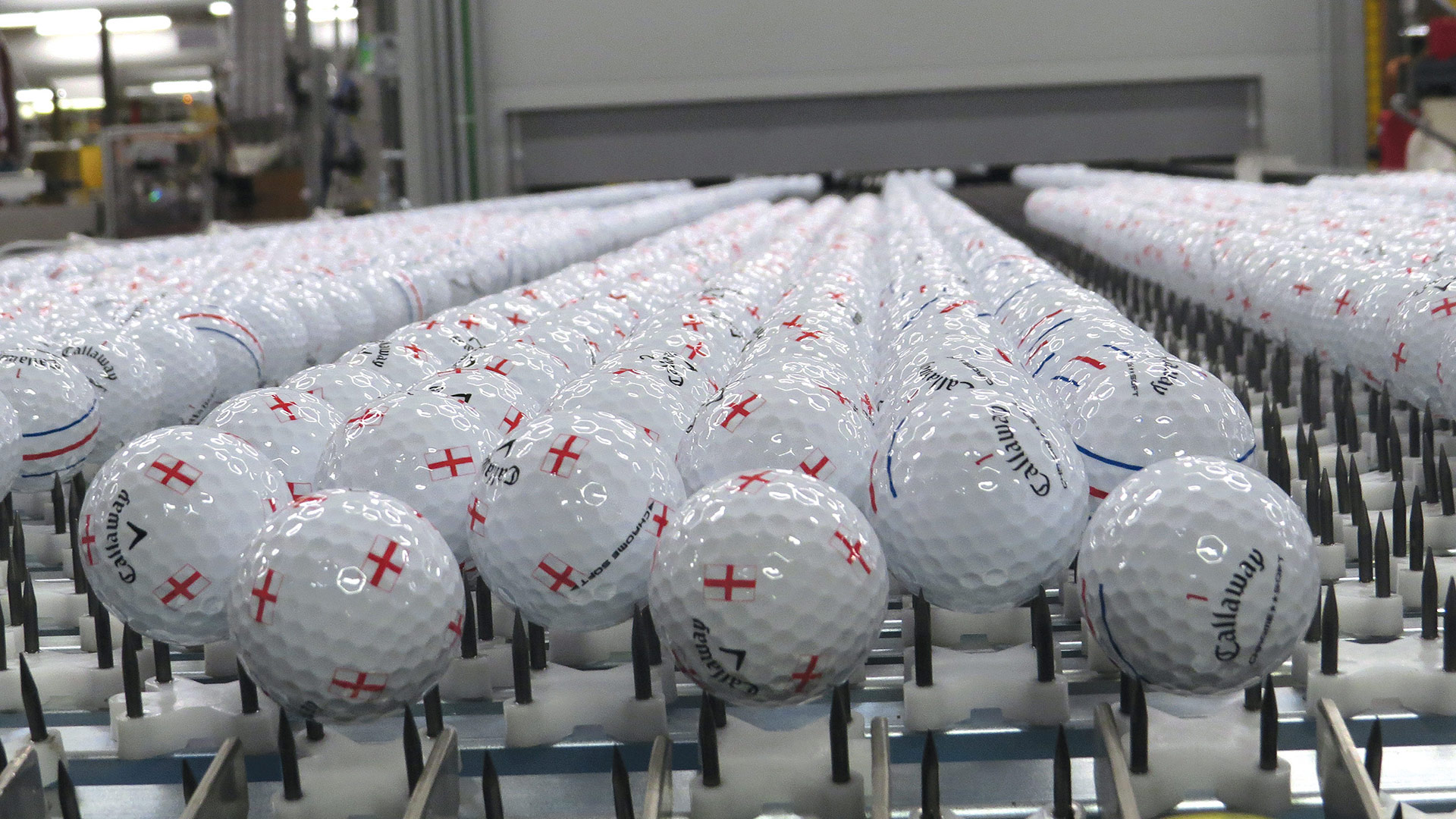 Between 200,000 and 250,000 golf balls roll out of Callaway's Chicopee plant every day.