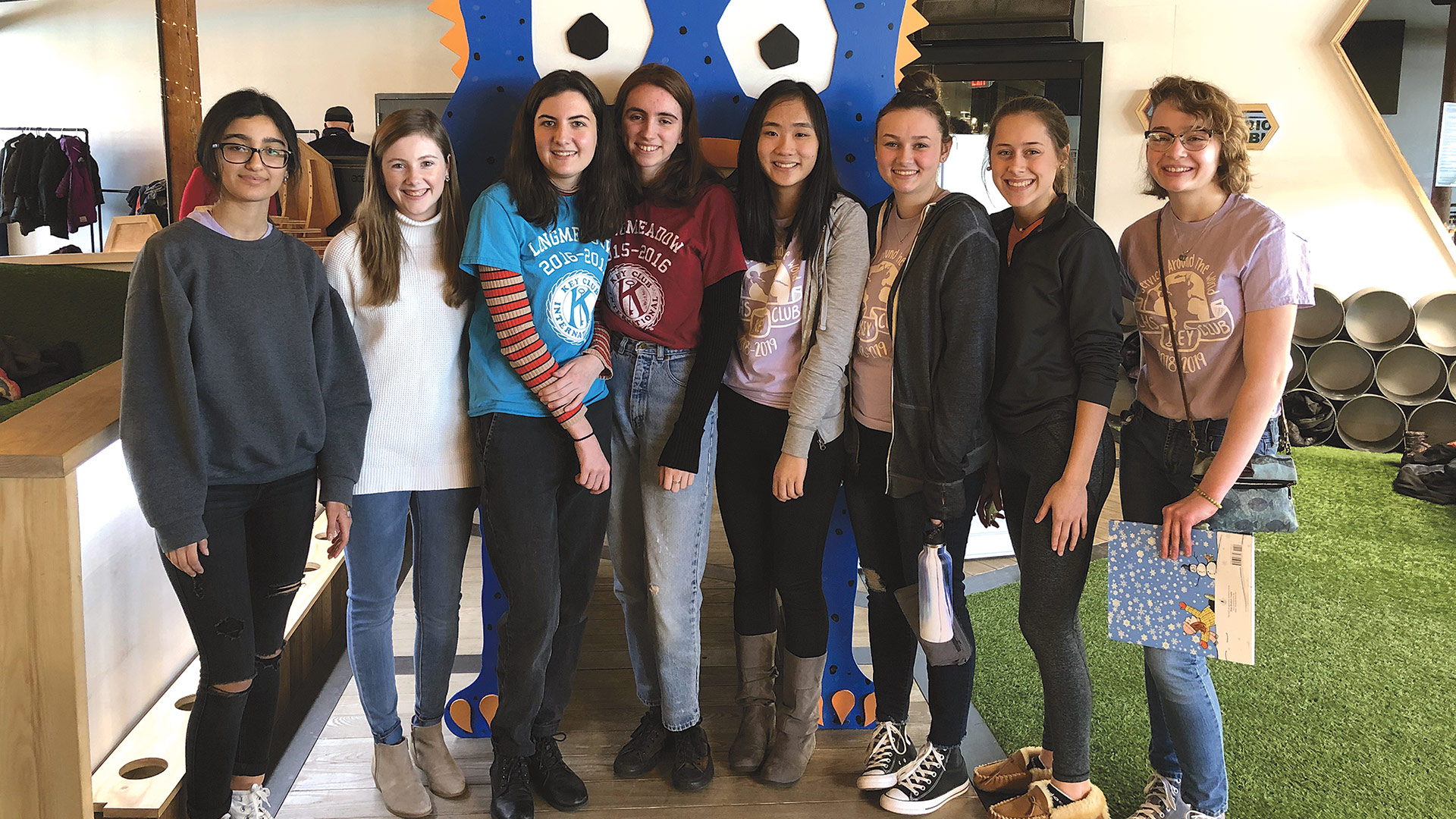 Longmeadow High School Key Club volunteers, from left, Emily Ibrahimov, Meghan Desrosiers, Sara Creapo, Kate Gelinas, Shirley Yuan, Abby Chiz, Olivia Anderson, and Miranda Vellenga