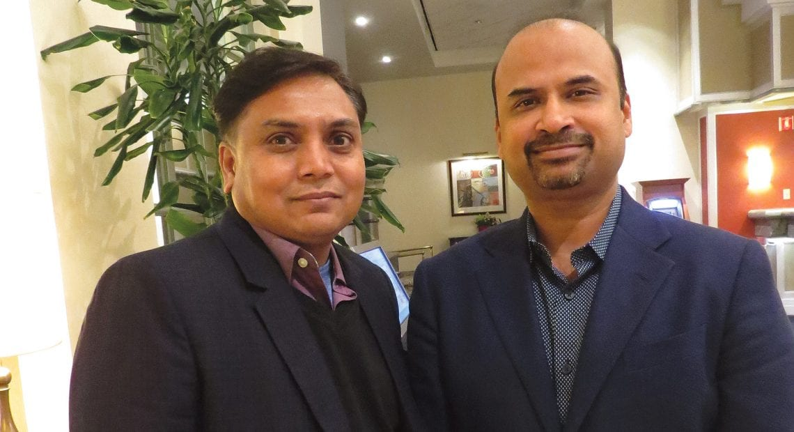 Dinesh Patel, left, and Vid Mitta in the soon-to-be-renovated lobby of the Tower Square Hotel.