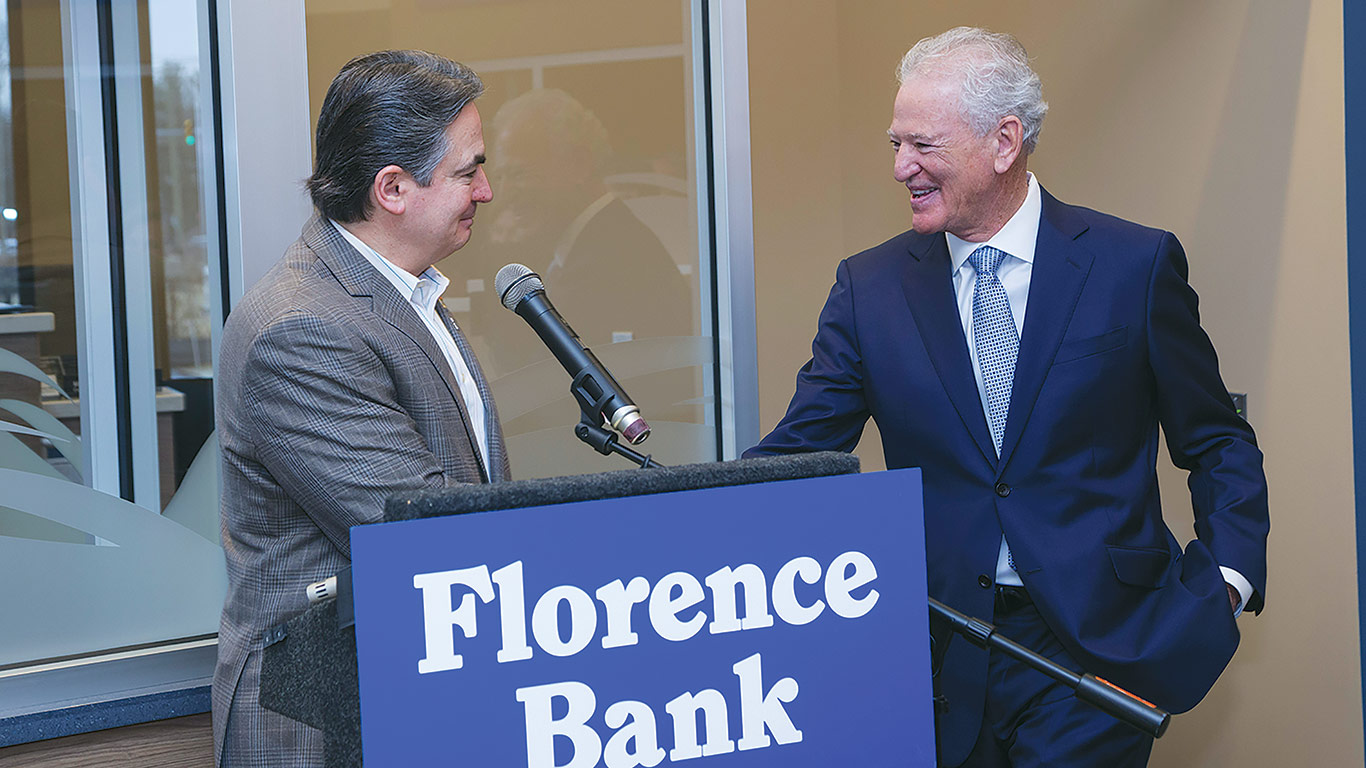 Sarno (left) greeting Heaps and welcoming Florence Bank into the city.