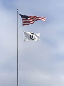 The 'win flag' flies on the pole outside the Callaway plant