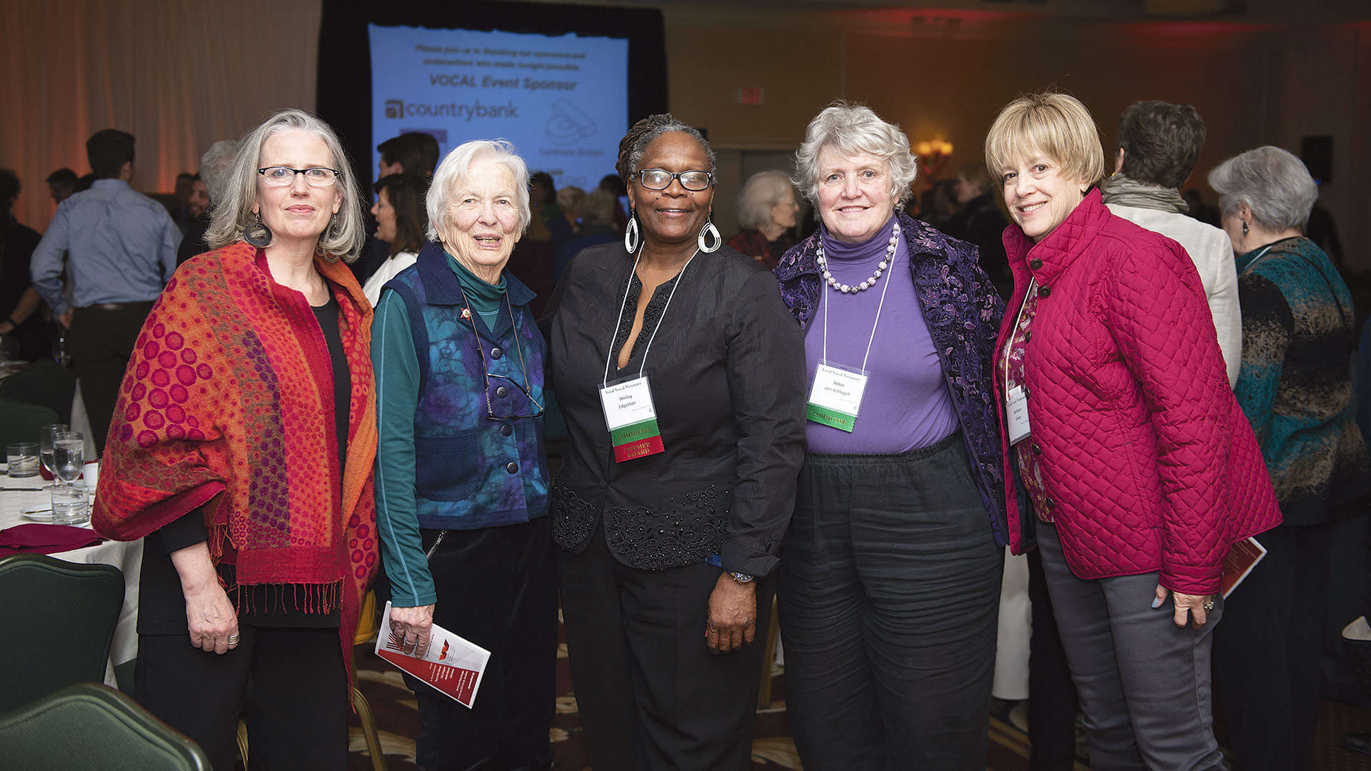 From left, Eugenie Sills, Eleanor Lord, Shirley Edgerton (all former board members), Abbie von Schlegell, and Barbara Viniar