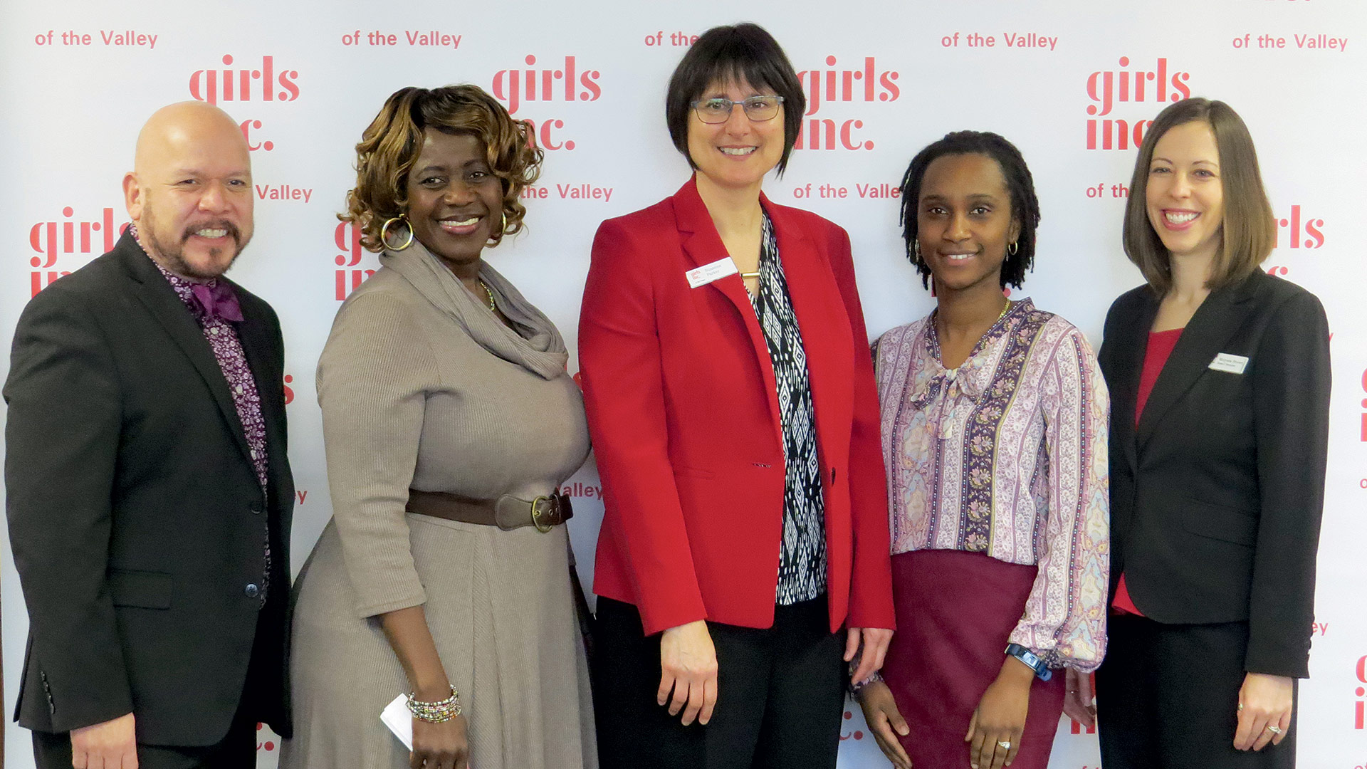 From left, Luis Soria, principal of the Marcella R. Kelly School in Holyoke; Safiatu Sam, mother of a Girls Inc. Eureka scholar who lives in Chicopee; Suzanne Parker, executive director of Girls Inc. of the Valley; Roxanne Atterbury, a teacher at Rebecca Johnson Elementary School in Springfield; and Melyssa Brown-Porter, chair of the board for Girls Inc. of the Valley.