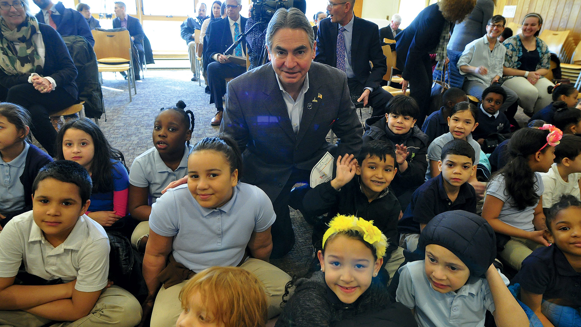 Springfield Mayor Domenic Sarno meets with several of those students.