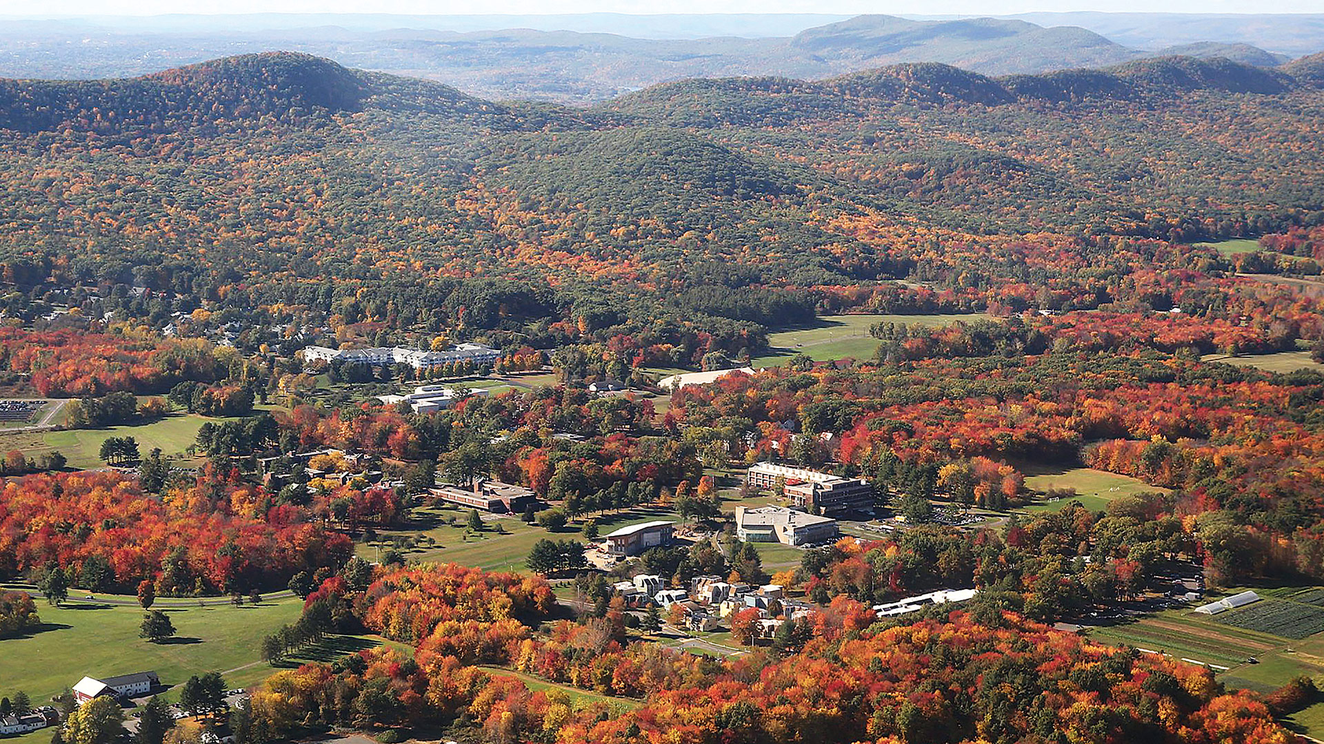 An aerial photo of the Hampshire College campus