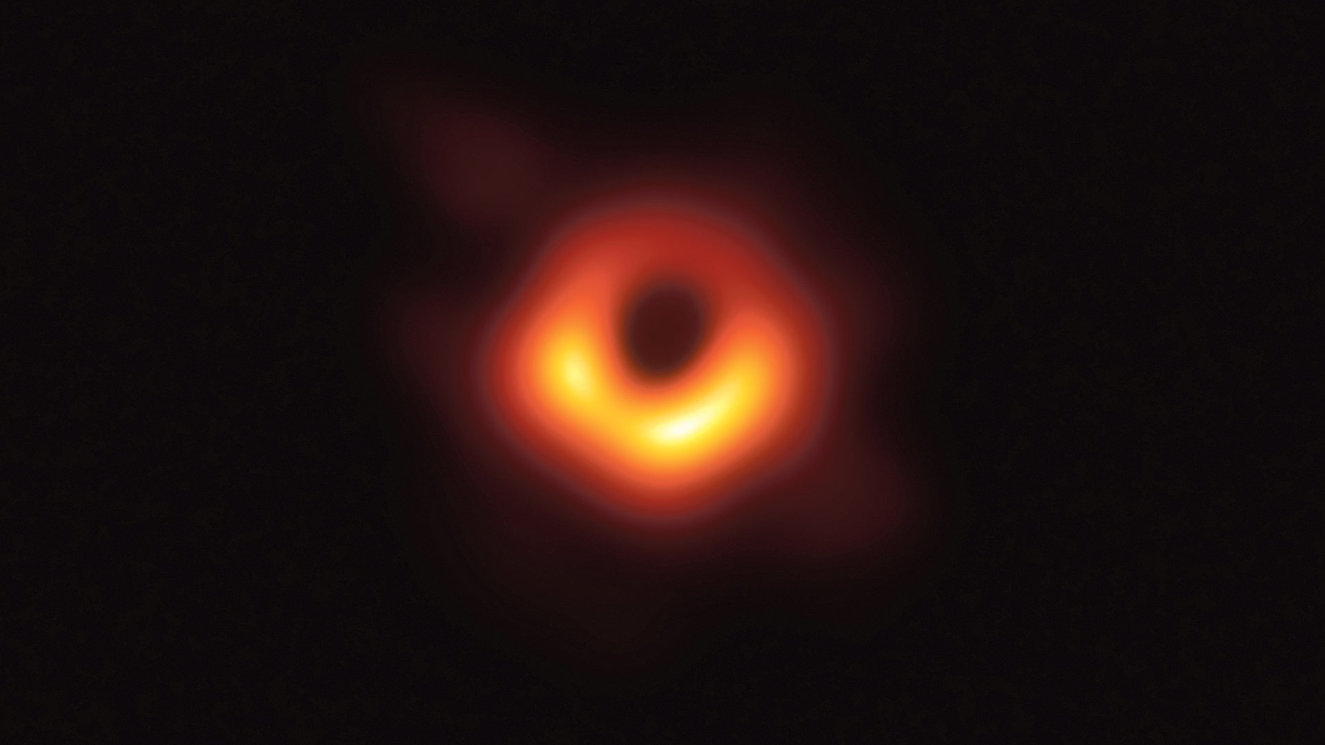 A high-resolution image of the black hole at the center of the galaxy known as M87.