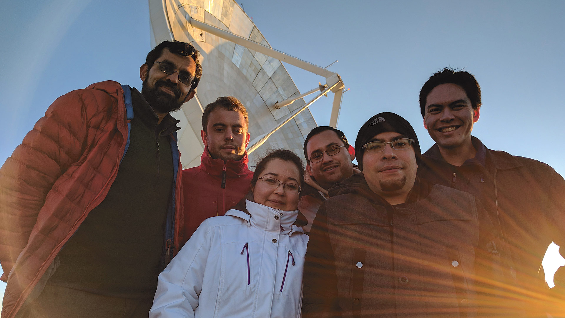 Part of the team in front of the LMT. From left, Gopal Narayanan, Aleks Popstefanija, Sandra Bustamante, Antonio Hernandez (Crya, Morelia, Mexico), David Sanchez, and Lindy Blackburn.
