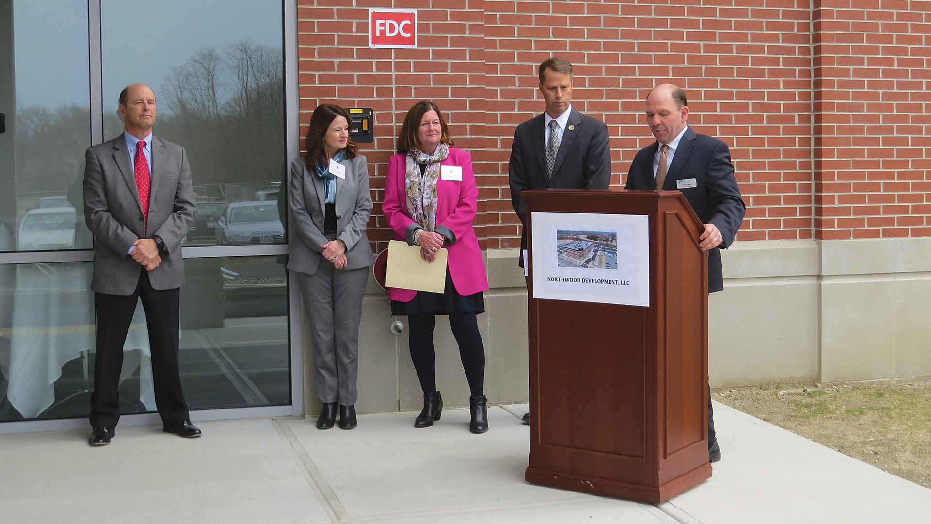 from left, Vincunas, Susan O'Leary Mulhern of Northwood Development, Eileen O'Leary Sullivan of Northwood Development, Northampton Mayor David Narkewicz, and Travis Ward of Development Associates