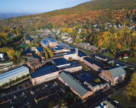 An aerial shot of the sprawling, 26-building campus of MASS MoCA.