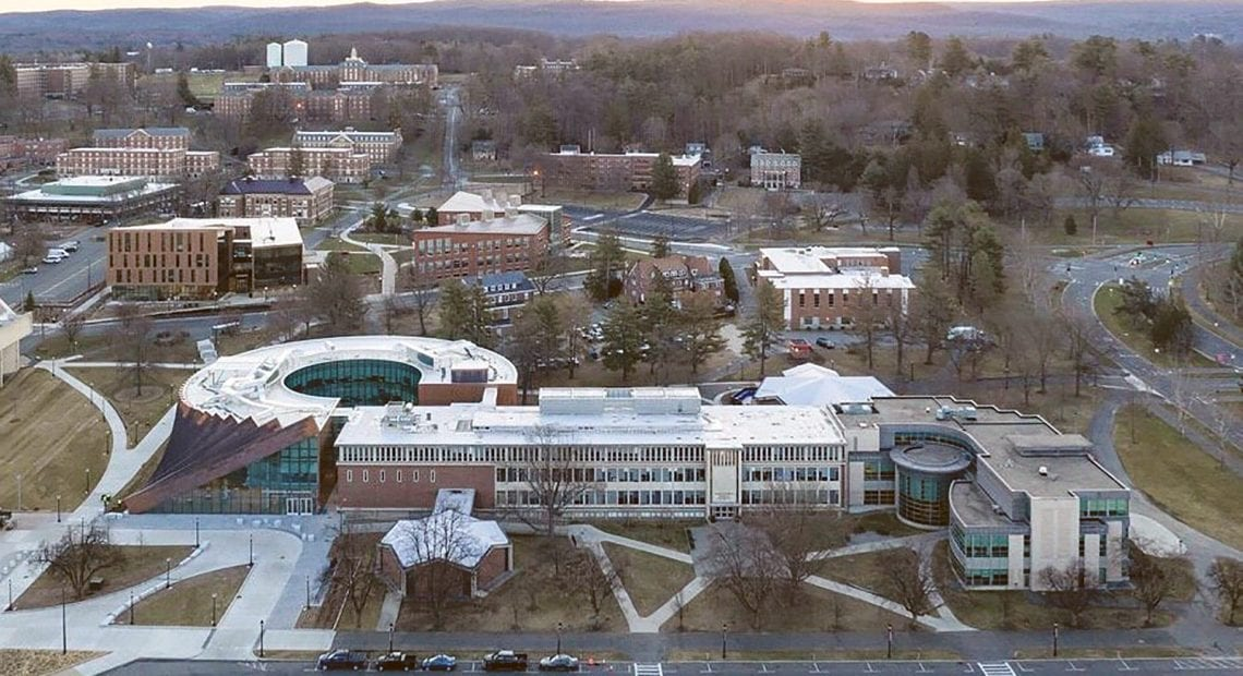 an aerial shot of the hub shows how it connects with the existing Isenberg building