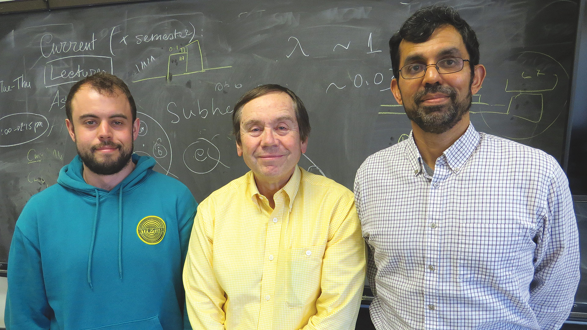 From left: Aleks Popsefanija, Gopal Narayanan, and Peter Schloerb, members of the team at UMass Amherst that helped capture that first image of a black hole.
