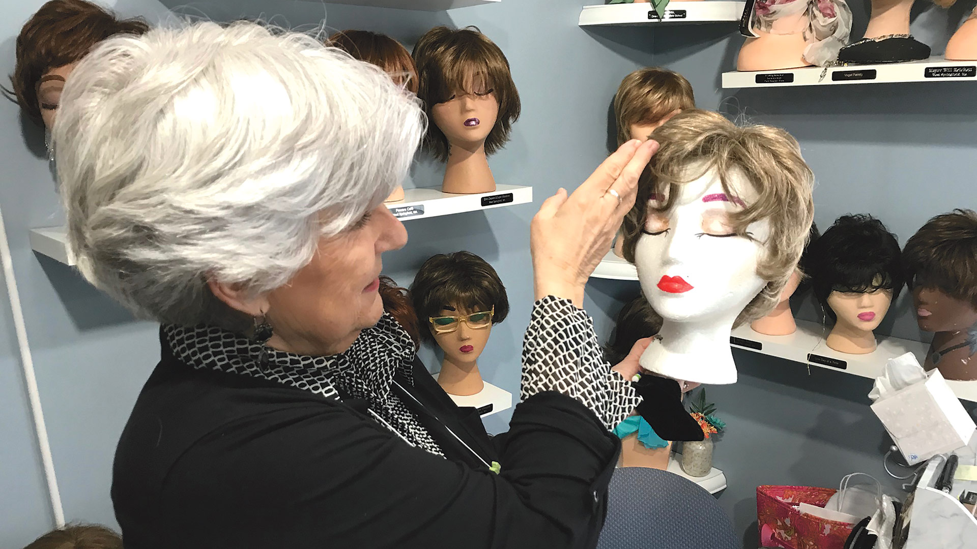 Joan Quinn, coordinator of the Wig Boutique at the Cancer House of Hope in West Springfield.