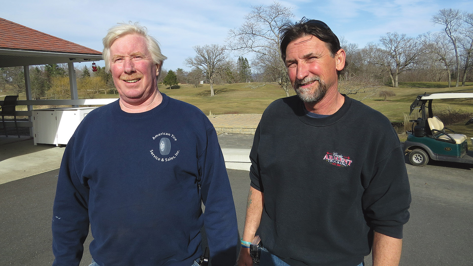 Bob VanZandt and Charlie Arment stand near a new patio that will soon be built at Wyckoff.