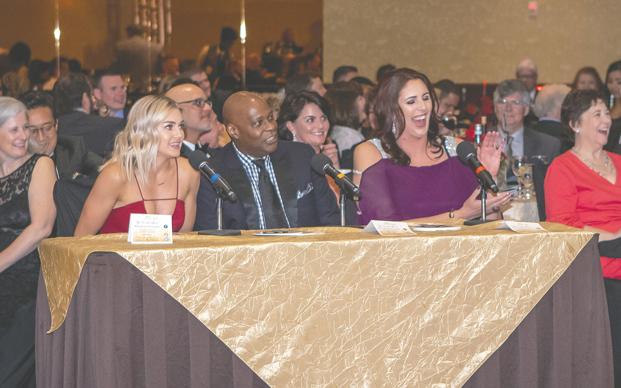 the judges for the dance competition, from left, Lindsay Arnold, Wayne Hooker, and Kara Wolters