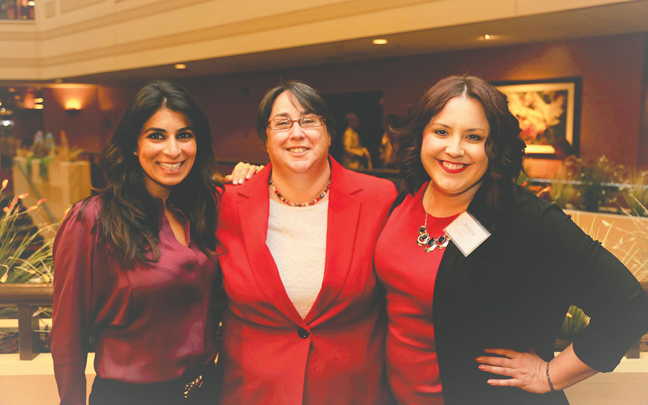 Carla Cosenzi, president of Tommy Car Auto, Margaret Tantillo, executive director of Dress for Success Western Massachusetts, and Jessica Dupont of Health New England, chair of the board of Dress for Success Western Massachusetts
