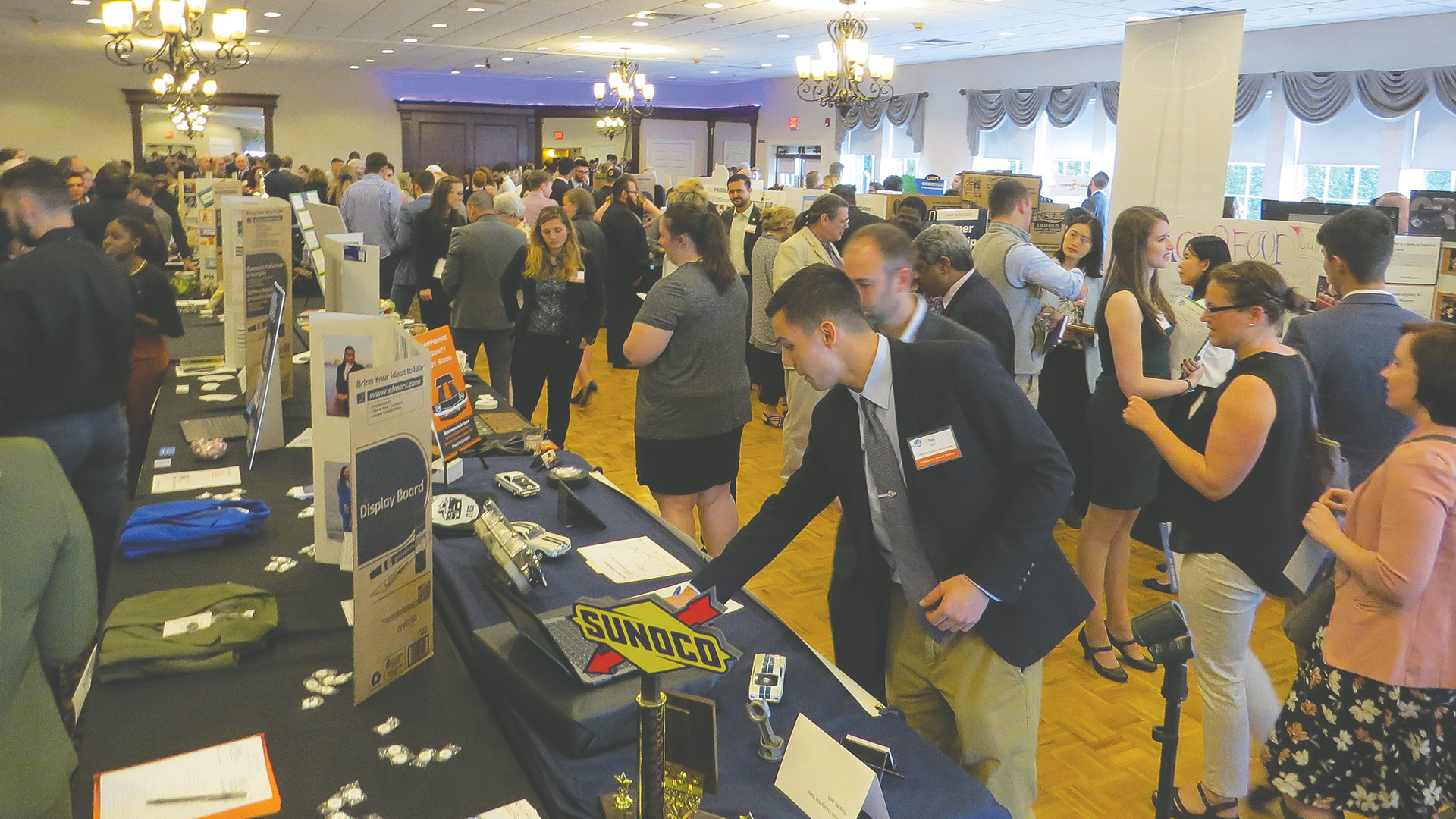the crowded ballroom floor during the Entrepreneur Showcase