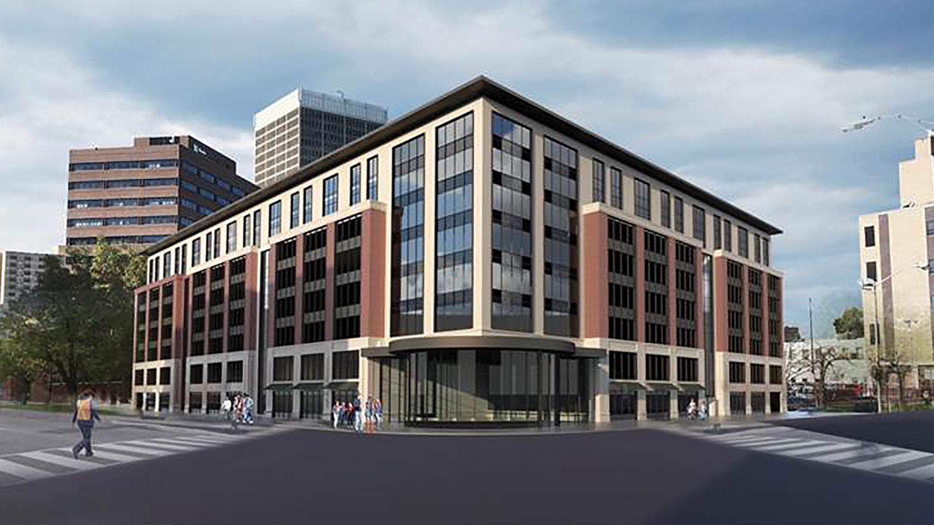 An architect's rendering of a proposed new parking garage