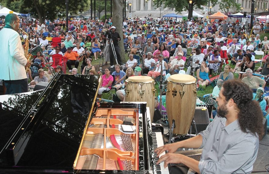 Donald Harrison and Zaccai Curtis perform on the Charles Neville Main Stage in 2017. Photo by Ed Cohen