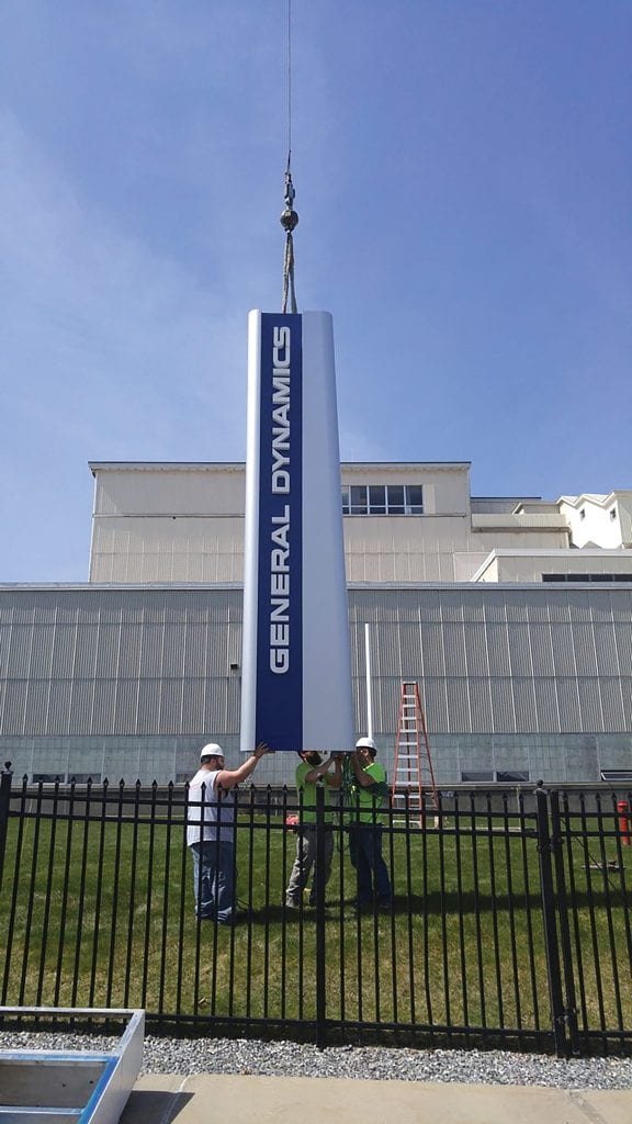 A new sign the company created for General Dynamics.