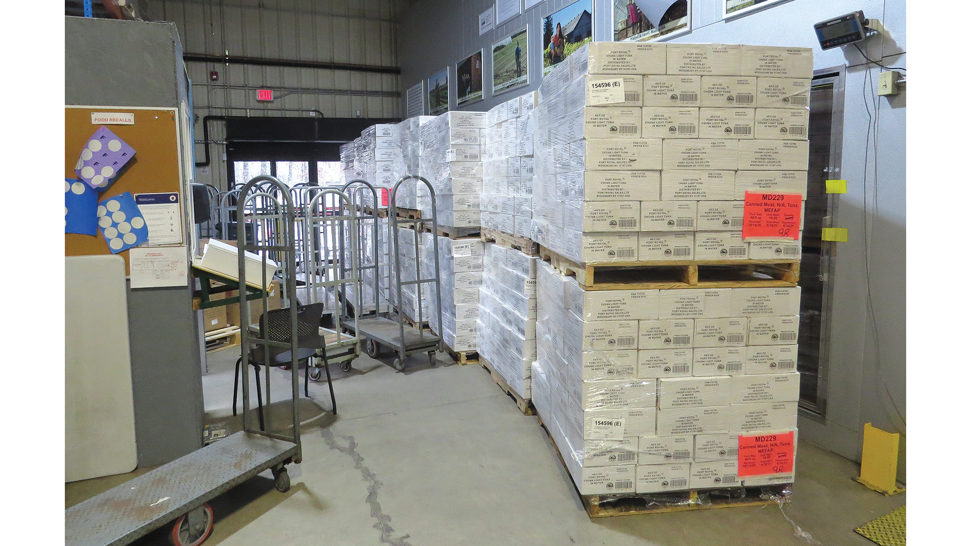 Pallets of food destined for area meal sites and pantries