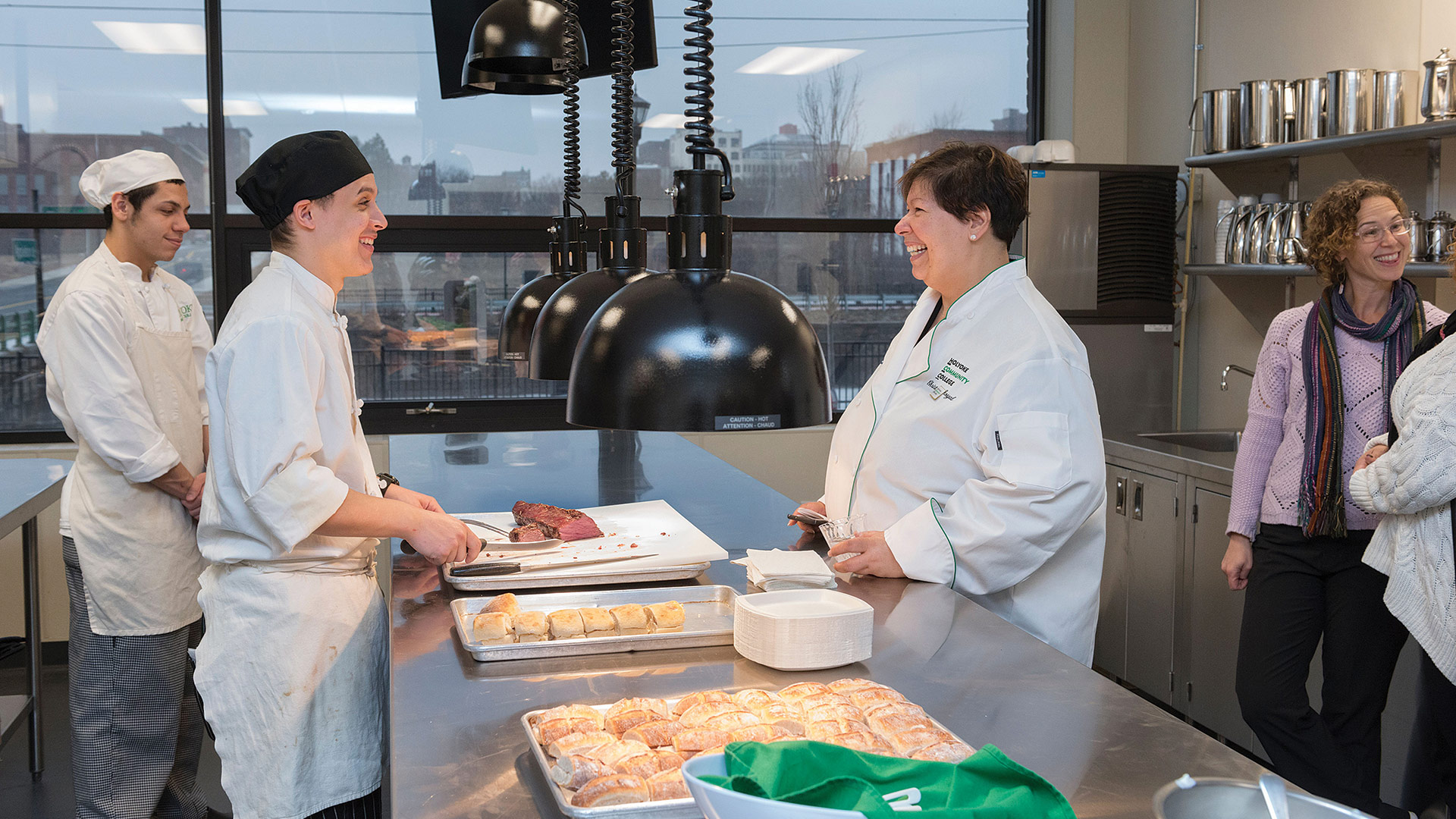 Christina Royal meets with students at the HCC MGM Culinary Arts Institute, which opened its doors in 2019.