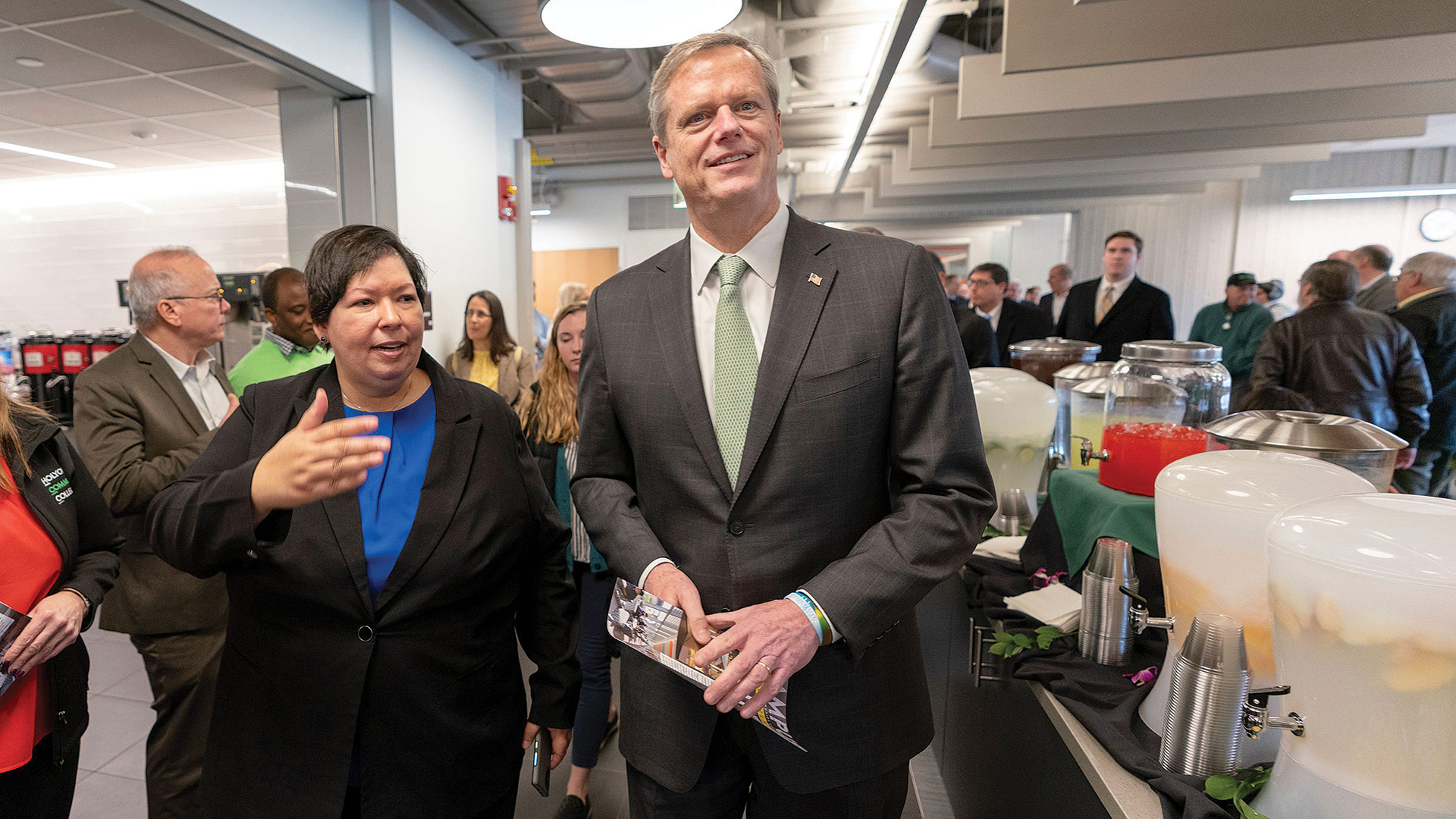 Christina Royal leads Massachusetts Gov. Charlie Baker on a tour of HCC