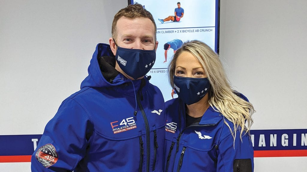 Danny and Jessye Deane, owners of two local F45 Training franchises.