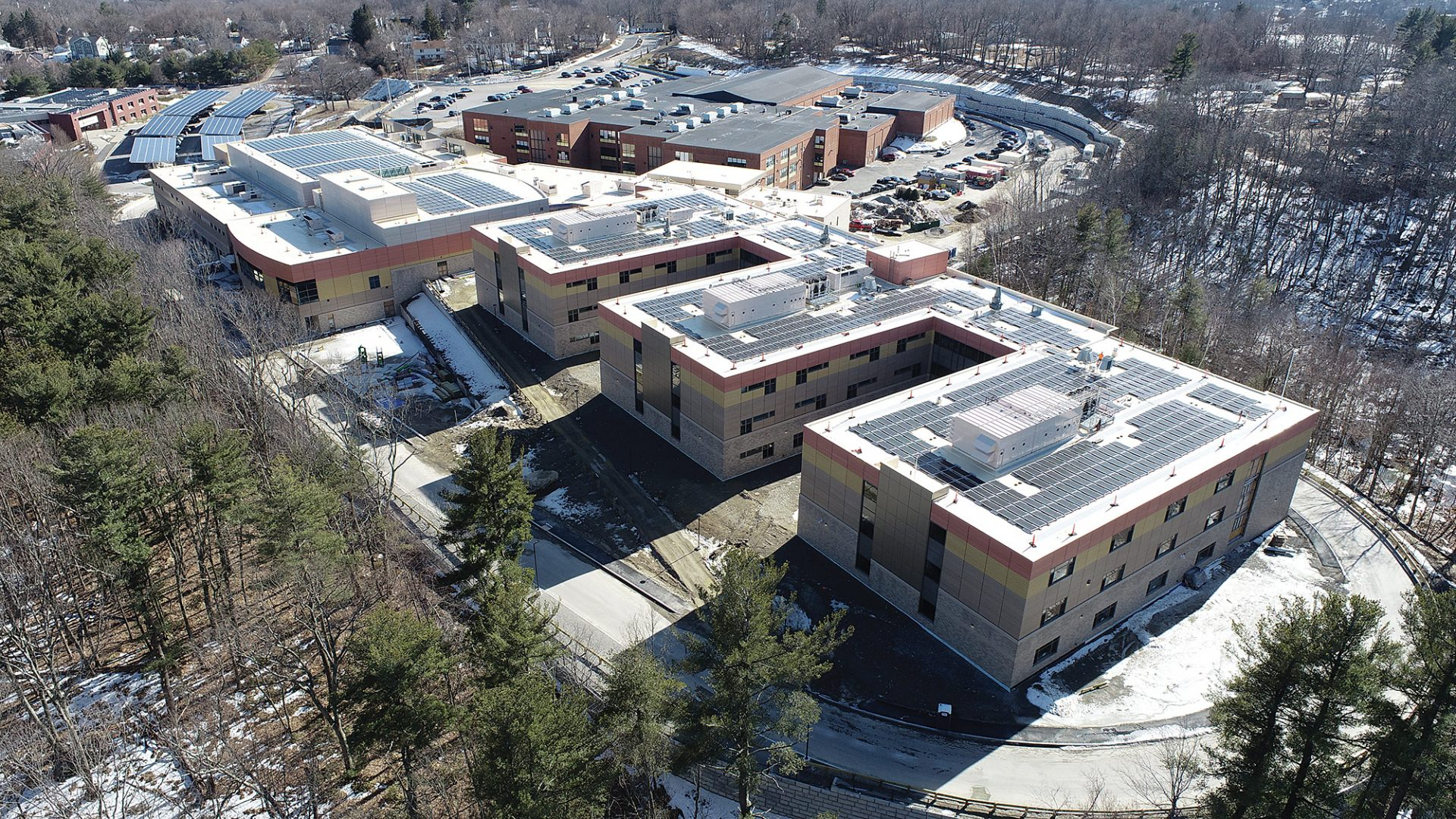 An aerial view of Worcester South Community High School