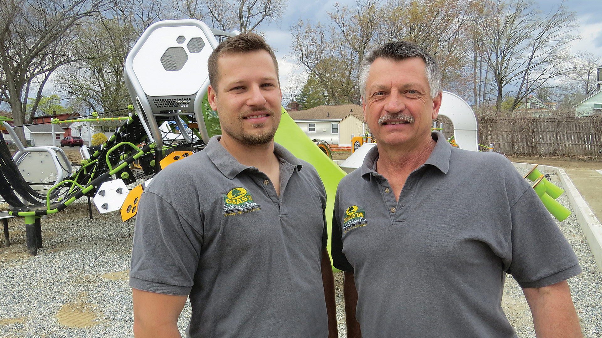 Greg Omasta, right, seen here with his son, Chris, at the new Walsh Park in Springfield