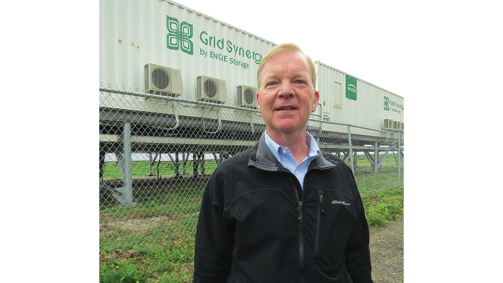 Jim Lavelle at HG&E's energy-storage system