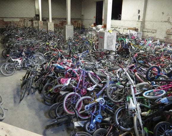 Just some of the thousands of bikes waiting to be repaired and prepared for delivery to children