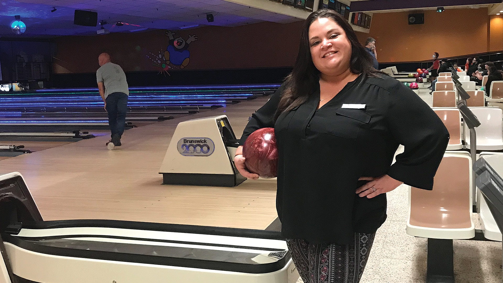 Sarah Blais says it's good to hear activity again at Spare Time Bowling.